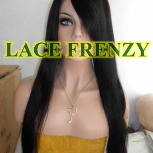 Ebony- 22 Inches - Indian Remy Hair -Yaki Straight w/ side bang -Lace Front Wig