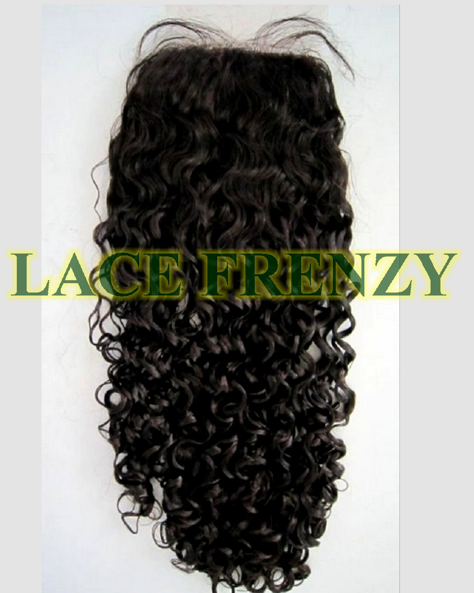 Indian Remy - Curly - 3.5 X 4 Inches - Silk Top Closure