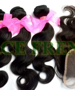 Malaysian virgin top closure and machine weft bundle kit
