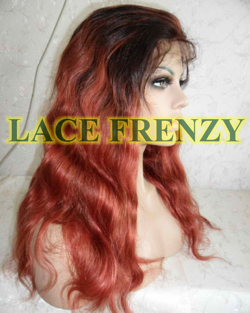 Indian remy ombré wavy lace front wig