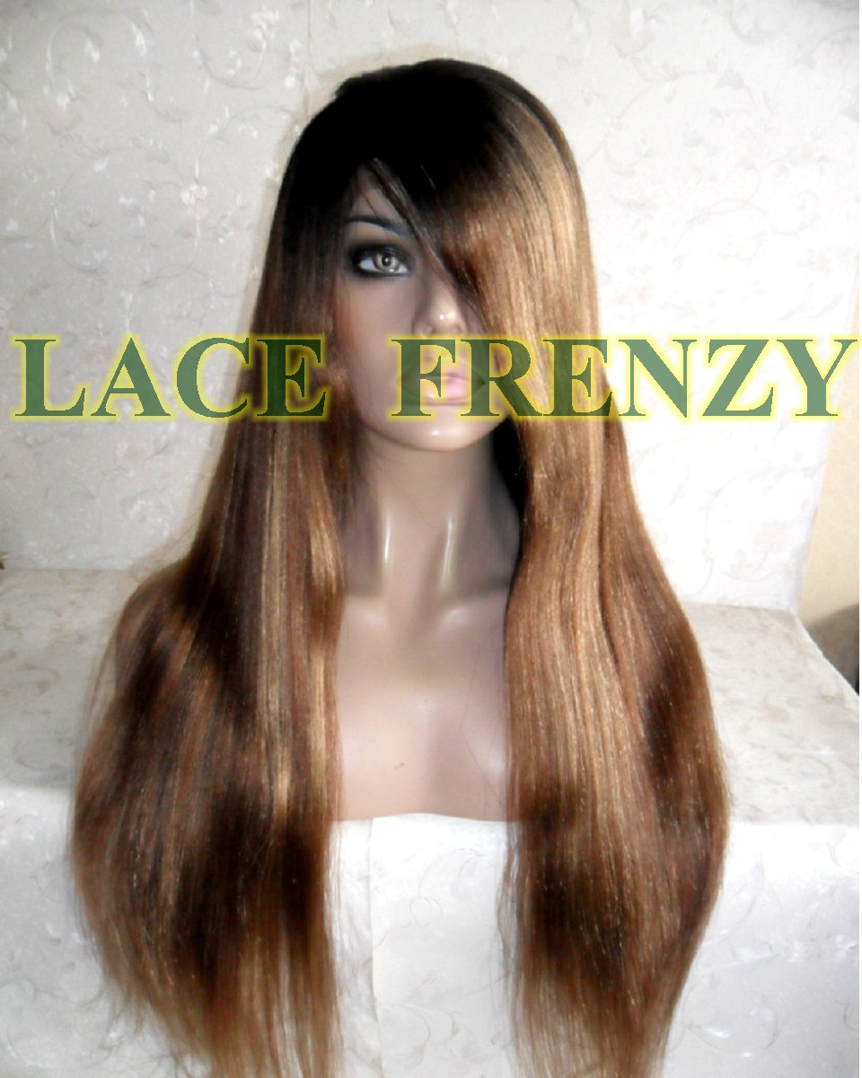 Dallas - 22 Inches - Light Yaki- Indian Remy Hair -Lace Front Wig w/ Side Bang