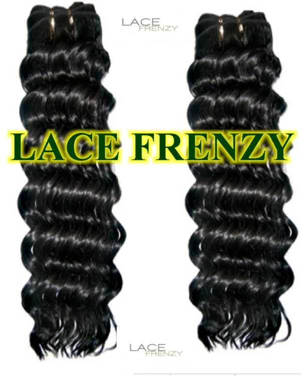 Deep wave lace frontal and machine weft bundle kit