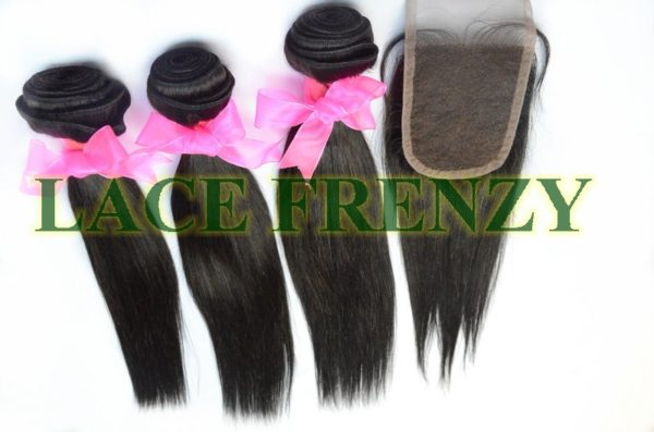 Indian Remy hair - Yaki - 3.5x4 Inches - Top Closure & Machine Weft Bundle Kit