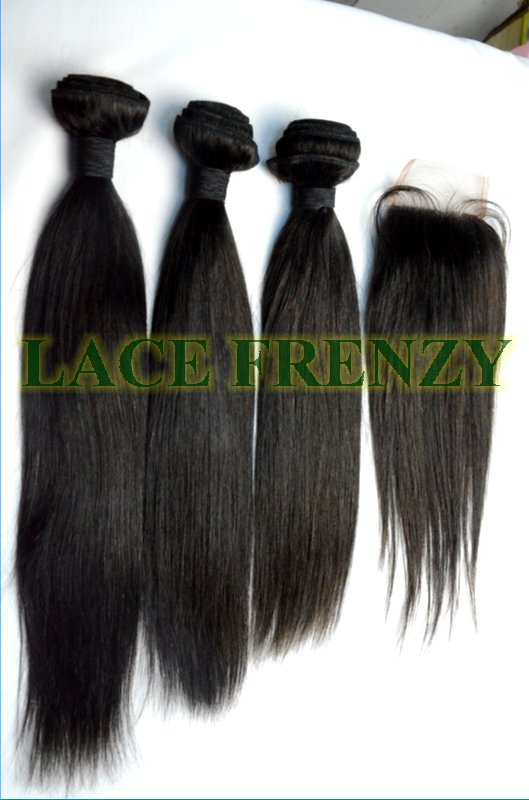Indian Remy Hair - Yaki - 3.5x4 Inches Top Closure & Machine Weft Bundle Kit