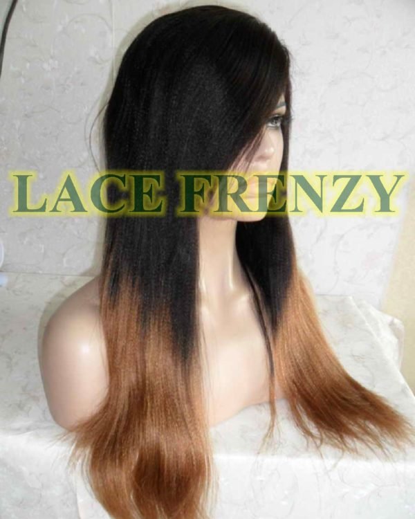Tahair -TToned - Indian Remy Hair - Soft Yaki w/ Side Bang Lace Front Wig