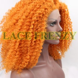 Tight curl Orange heat safe lace front wig