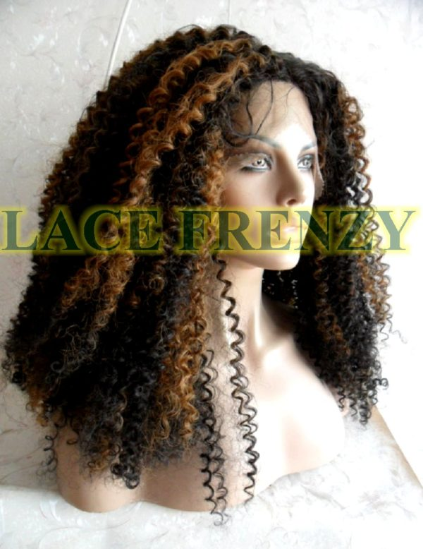 20 inches Two toned Afro curl heat safe synthetic lace front wig