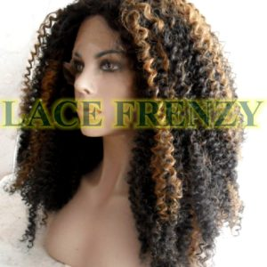 Two toned Afro curl heat safe synthetic lace front wig