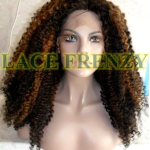 Two toned Afro curl synthetic lace front wig