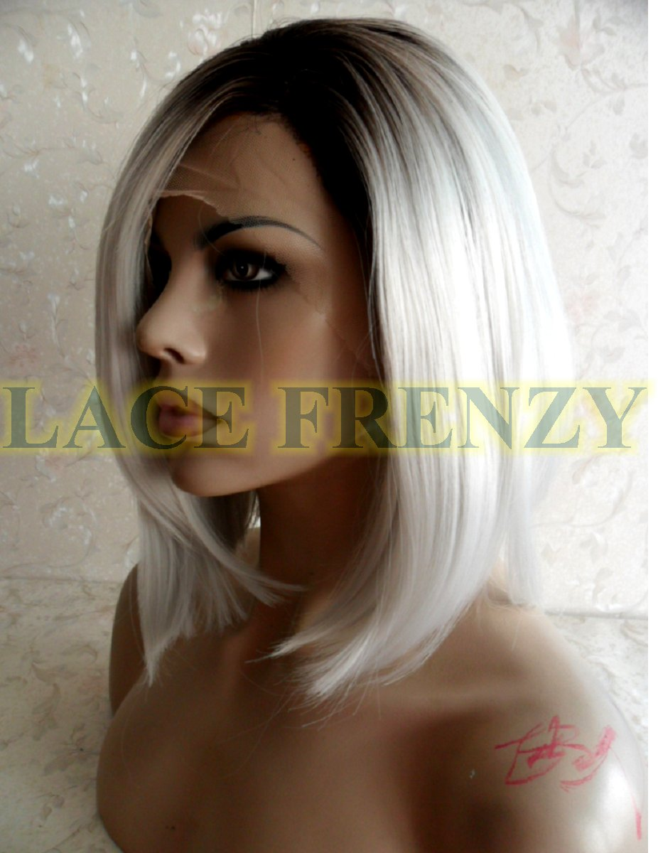 12 inches Ombre silver Bob styled lace front wig