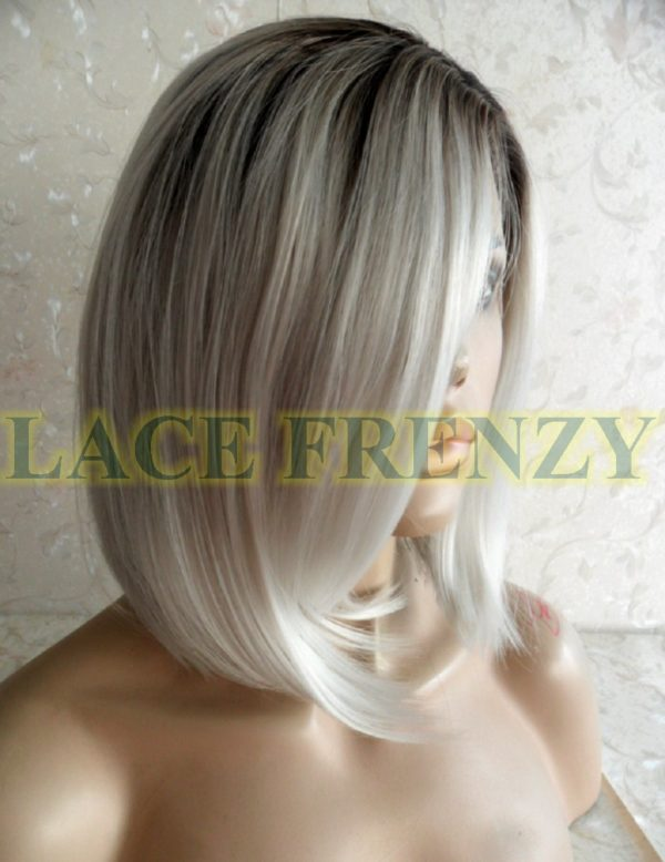 Two toned Ombre gray Bob styled lace front wig