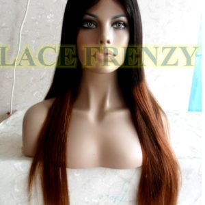 Sabel - 22 inches- indian remy hair- natural straight center part - two toned - lace front wig
