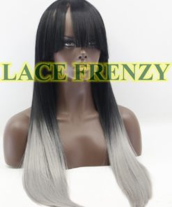 Gray ombre heat safe lace front with bang