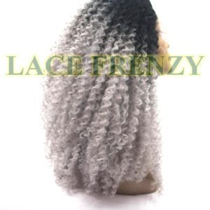 Ombre gray AFRO curl lace front wig