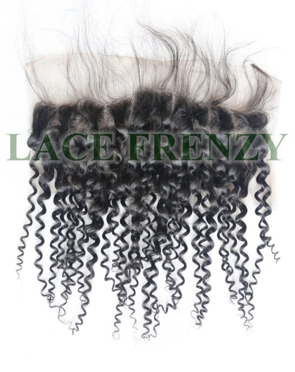 13x4 inches Peruvian virgin kinky curly hair lace frontal