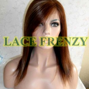Ashley - 12 Inches - Indian Remy Hair-Soft Yaki w/ Bang - Lace Front Wig