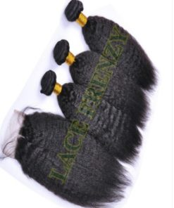 Kinky Straight - 4x4 Inches - Top Closure and 300G- Layered- Machine Weft Bundle Kit