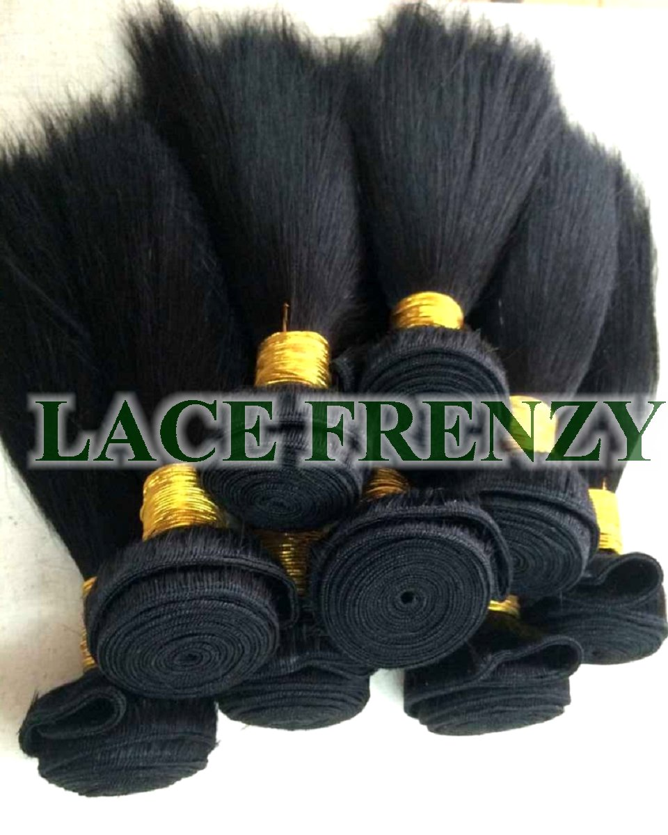 Grade 8A virgin kinky straight machine weft hair extensions