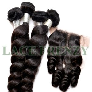 Peruvian Virgin - Loose Wave - 3.5 X 4 Inches Top Closure & Machine Weft Bundle Kit