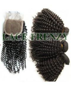 4x4 inches silk top closure and 300g machine weft bundle Kit