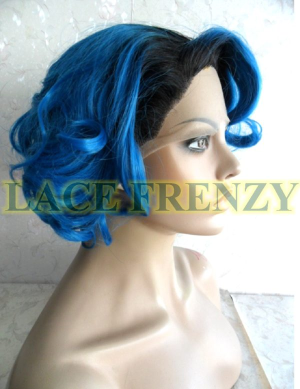 Blue two toned short curly lace front wig