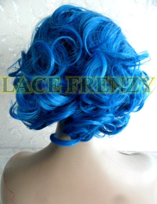 Blue ombré curly lace front wig