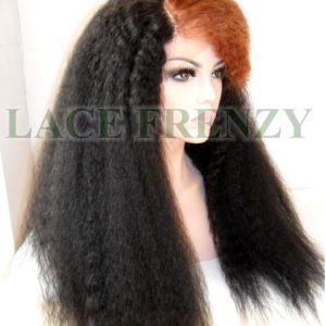 #1b/30 kinky straight heat safe lace front wig