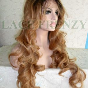 Body curls synthetic lace front wig