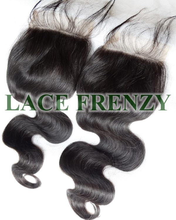 Hair Type: 100% Virgin Hair Hair Length: 10 inches (shown) Hair Color: Natural Black (#1b) Hair Density: 120% (thickness) Lace Top Closure Measurement: 4x4 inches Lace Type: Swiss Lace Baby Hair: Yes Hair Texture: Body Wave