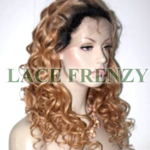 Selena - Two Toned - Tight Curls - Brazilian Virgin Hair - Silk TopFull Lace Wig