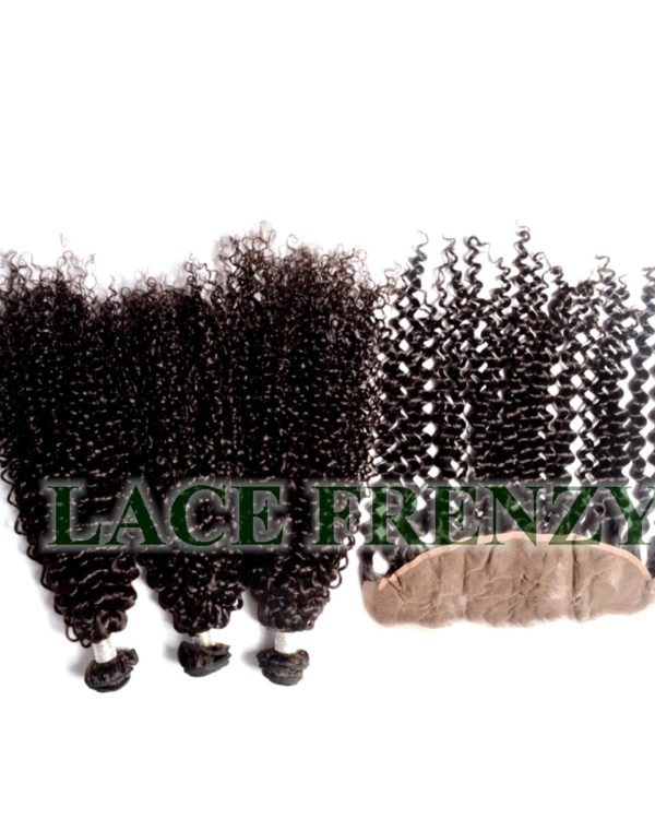 Peruvian Virgin- Kinky Curly - 13x4 Inches Lace Frontal & 300g Machine Weft Bundle Kit