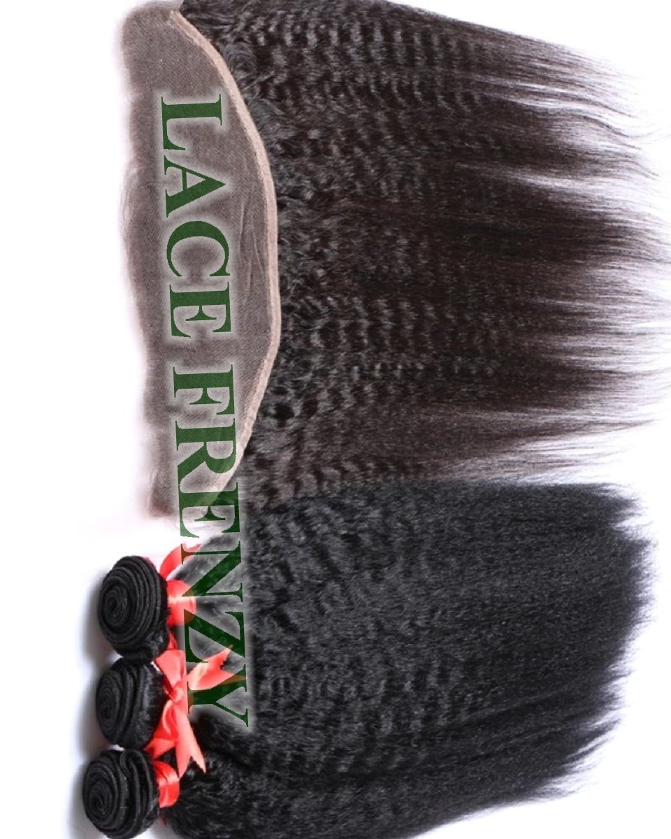 Kinky Straight -Peruvian Virgin Hair -13X4 Inches Lace Frontal & 300G Machine Weft Bundle Kit