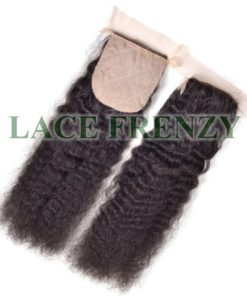 Grade 7a Virgin Hair - Kinky Wave - 4x4 Inches Silk Base Top Closure