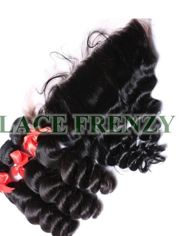 Peruvian Virgin -Loose Wave - 13X4 Inches Lace Frontal & 300G Machine Weft Bundle Kit