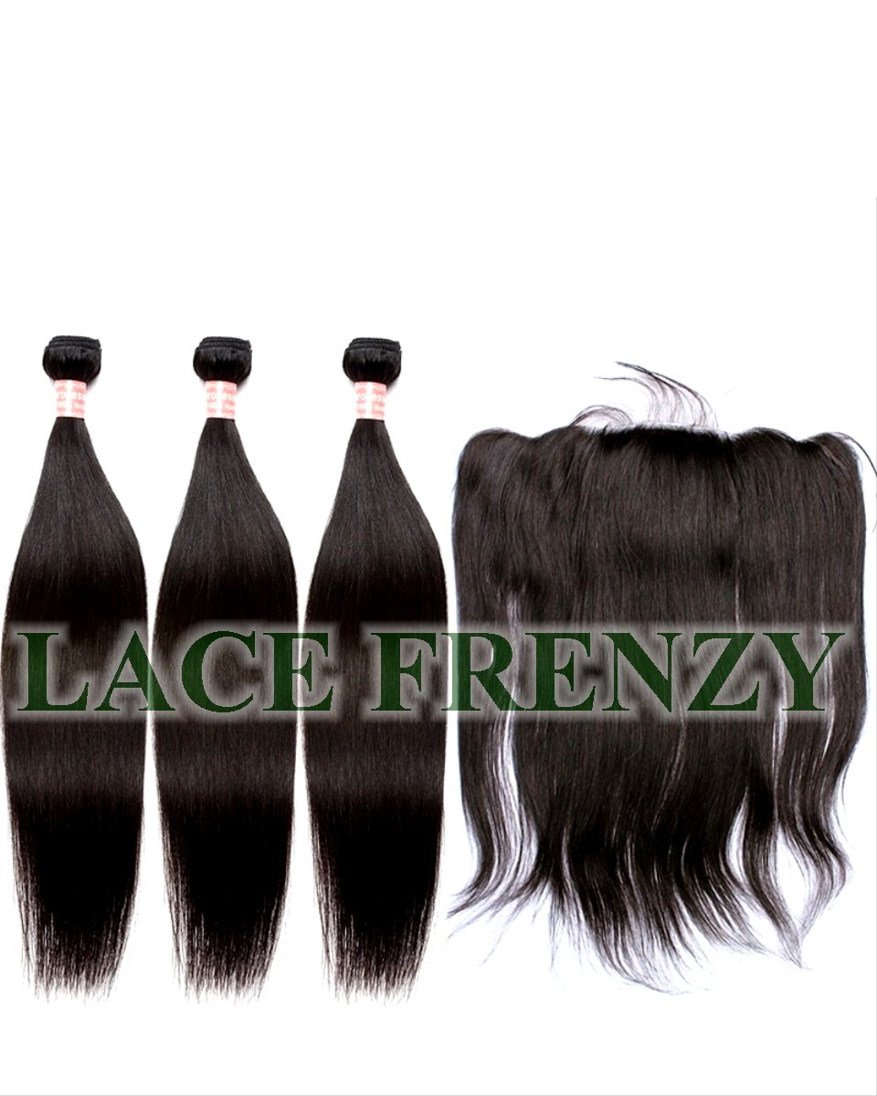 Grade 7a Virgin Hair- 13x4 Inches Silk Base Lace Frontal & 300g Machine Weft Bundle Kit