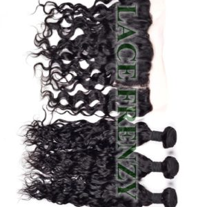 Grade 7a Virgin Hair - Water Wavy- 13x4 Inches Lace Frontal & 300g Machine Weft Bundle Kit