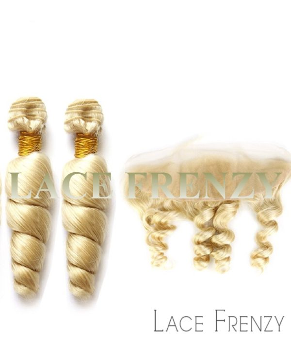 chinese virgin hair 13x4 inches loose wave lace frontal and bundle hair