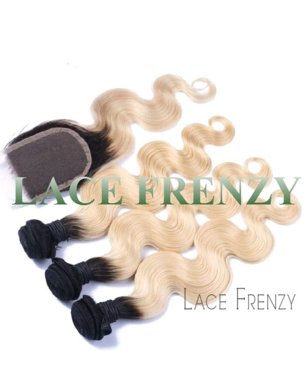 Brazilian Virgin Hair - 4x4 Inches TToned Lace Closure and Layered Bundle Hair
