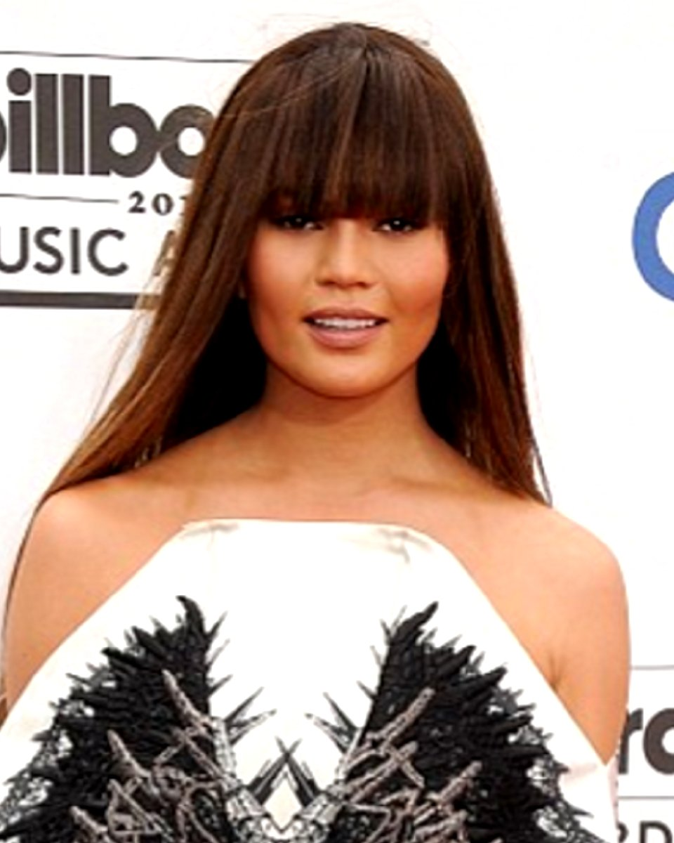 chrissy teigen straight handtied bang custom celebrity lace wig