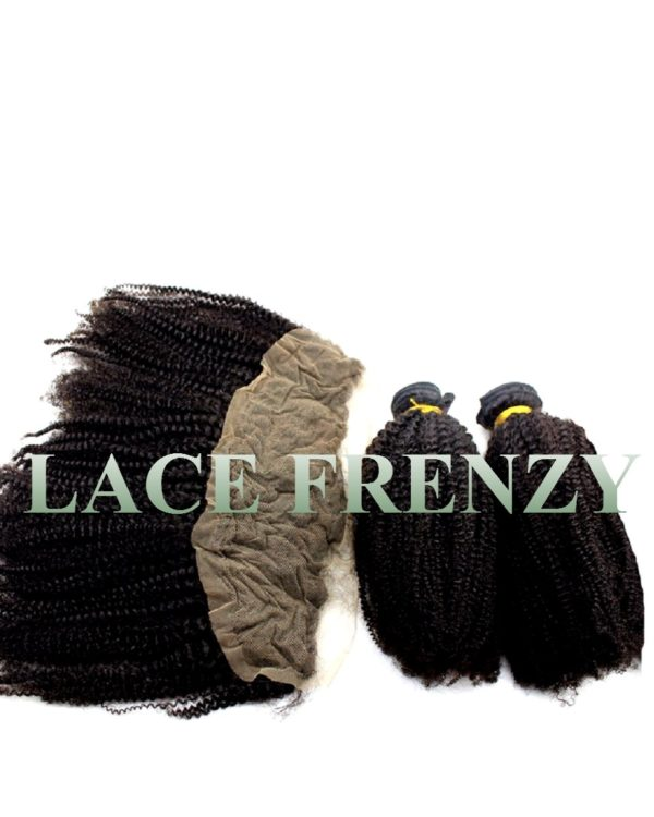13x4 Inches- Kinky Curly-Lace Frontal and 200g Machine Weft Bundle