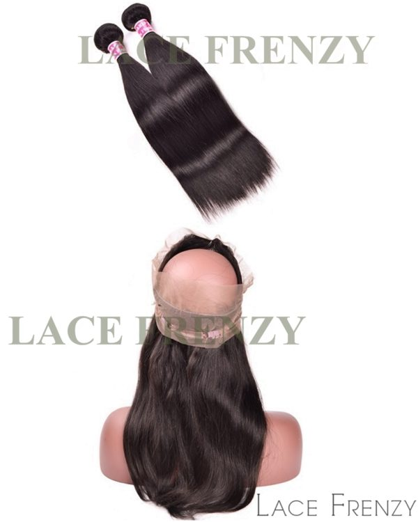 Indian Remy Hair - Light Yaki - 360 Frontal with 2 Bundles