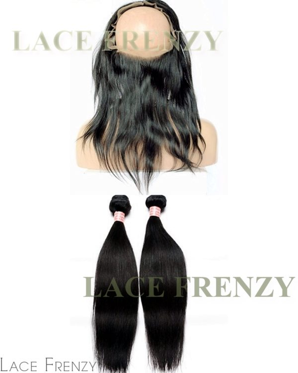 Indian Remy Hair - Natural Straight - 360 Frontal with 2 Bundles