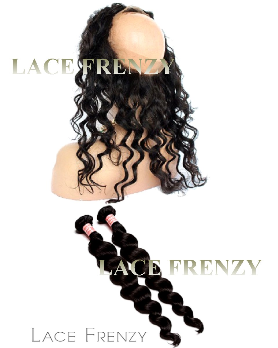 Indian Virgin Human Hair -Loose Wave- 360 Frontal with 2 Bundles