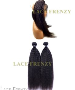 Peruvian Virgin Hair - Kinky Straight - 360 Frontal with 2 Bundles