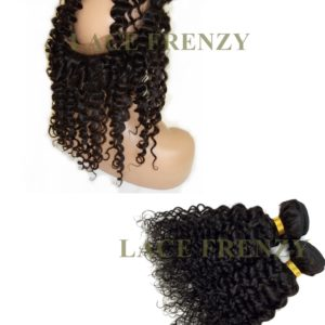 Virgin Human Hair - Deep Curly - Silk Base 360 Lace Frontal with 2 Bundles