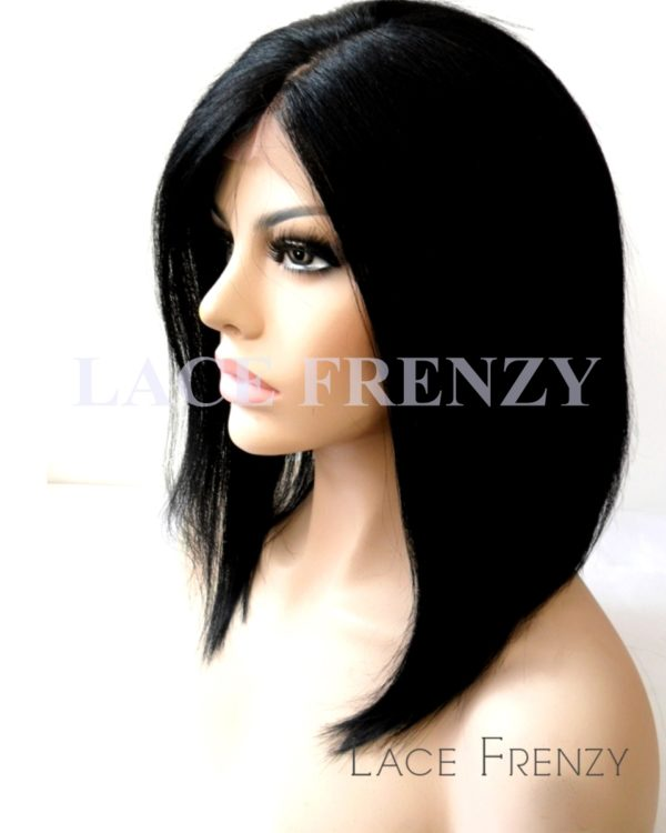 Evette - 12 Inches - Custom Bob Styled Brazilian Virgin Hair- Silk Base Lace Front Wig