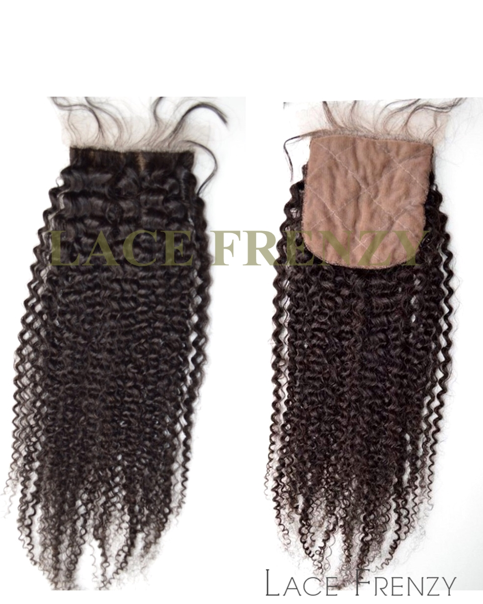 Afro Kinky Curly - Virgin Human Hair - Silk Top Closure