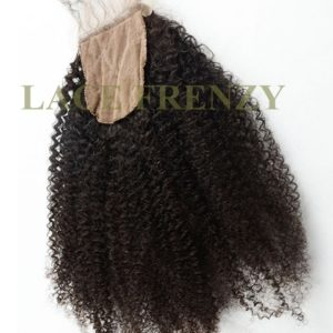 Brazilian Virgin Human Hair- Afro Kinky- Silk Top Closure