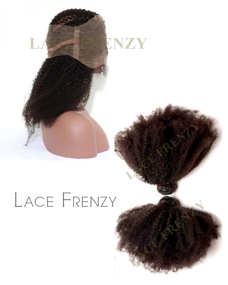Peruvian Virgin Hair - Afro Kinky Curly - 360 Frontal with 2 Bundles
