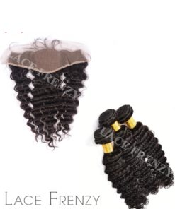 Virgin Human Hair -Deep Wave -13X4 Inches Silk Base Lace Frontal & 300G Machine Weft Bundle Kit